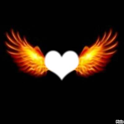 Montage photo coeur avec des ailes de feu pixiz - Coeur avec des photos ...