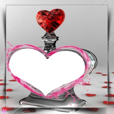 cadre bouteille en forme de coeur photo dans le coeur