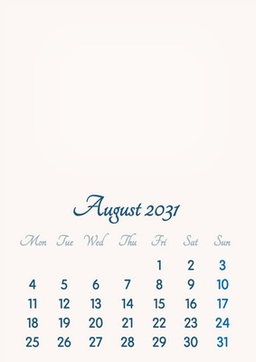 August 2031 // 2019 to 2046 // VIP Calendar // Basic Color // English