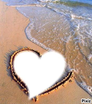montage photo coeur sur une plage pixiz. Black Bedroom Furniture Sets. Home Design Ideas