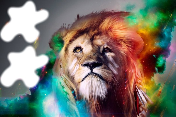 Montage photo lion couleur arc en ciel pixiz - Photo de lion a imprimer en couleur ...
