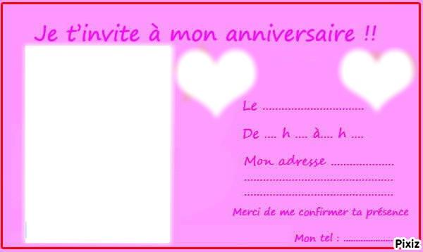 carte d invitation anniversaire ado Photo montage Carte d'invitation anniversaire ado   Pixiz