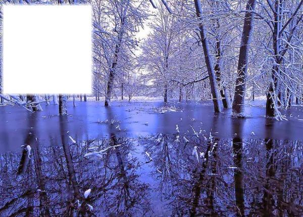montage photo cadre bleu paysage hiver pixiz. Black Bedroom Furniture Sets. Home Design Ideas