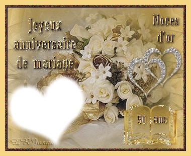 Montage photo noce d 39 or 50 ans pixiz - Cadeau 50 ans de mariage noces d or ...